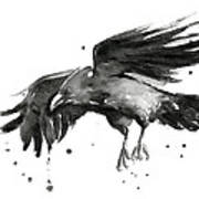 Flying Raven Watercolor Poster