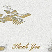 Flying Ruffed Grouse Thank You Poster