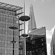 Focus On The Shard London In Black And White Poster