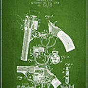 Foehl Revolver Patent Drawing From 1894 - Green Poster