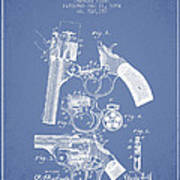 Foehl Revolver Patent Drawing From 1894 - Light Blue Poster