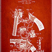 Foehl Revolver Patent Drawing From 1894 - Red Poster