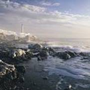 Fog And Rocky Shoreline In Winter With Poster