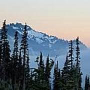 Mt. Rainier's Foggy Sunset Poster