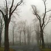 Foggy Cemetery Road Poster