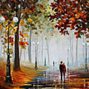 Foggy Morning - Palette Knife Contemporary Landscape Oil Painting On Canvas By Leonid Afremov - Size Poster