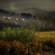 Foggy Tuscan Valley  Poster
