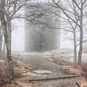 Foggy View Of The Summit Of Mount Battie Poster