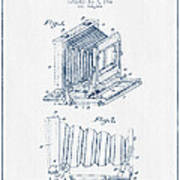 Folding Camera Patent Drawing From 1904 - Blue Ink Poster
