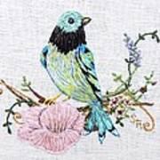 Folk Art Bird Embroidery Illustration Poster