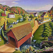 Folk Art Covered Bridge Appalachian Country Farm Summer Landscape - Appalachia - Rural Americana Poster