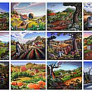 Folk Art Seasonal Seasons Sampler Greetings Rural Country Farm Collection Farms Landscape Scene Poster