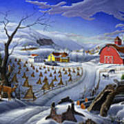 Folk Art Winter Landscape Poster