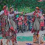 Folk Dance In Traditional Attire Poster