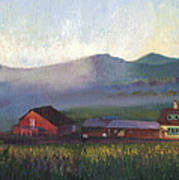 Folk School Barn At Dawn Poster