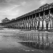 Folly Beach Pier In Black And White Poster