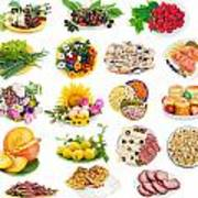Food On Plates Set Poster