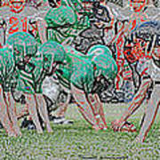 Football Playing Hard 3 Panel Composite Digital Art 01 Poster