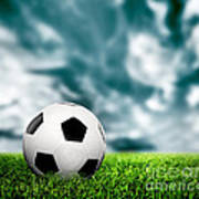 Football Soccer A Leather Ball On Grass Poster