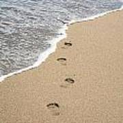 Footprints In Sand Poster