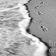 Footprints In The Sand Bw Poster