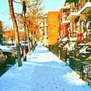 Footprints In The Snow Montreal Winter Street Scene Paintings Verdun Christmas  Memories  Poster