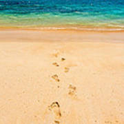 Footprints Leading To Paradise Poster