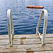 Footprints On Dock At Summer Lake Poster