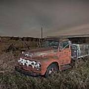 Abandoned Ford Farm Truck And Northern Lights Poster