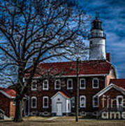 Fort Gratiot Lighthouse And Buildings With Clouds Poster