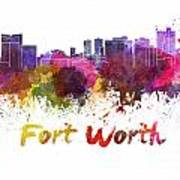 Fort Worth Skyline In Watercolor Poster