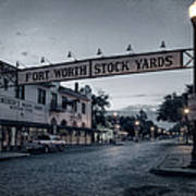 Fort Worth Stockyards Bw Poster