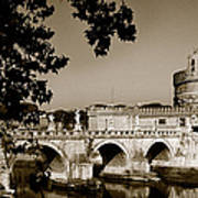 Fortress And Bridge In Sepia Poster