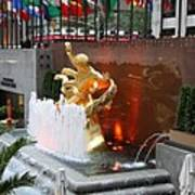 Fountain And Prometheus - Rockefeller Center Poster