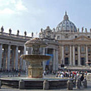 Fountain And St. Peters - Vatican City Poster