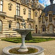 Fountain At Chateau De Chantilly Poster