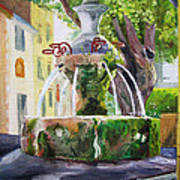 Fountain In Provence Poster