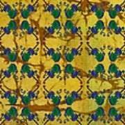 Four Fancy Fiddles Tiled On Gold Batik Poster