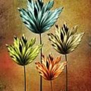 Four Fractal Flower Poster