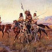 Four Mounted Indians Poster