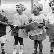 Four Young Children Singing Poster