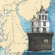 Fourteen Ft Bank Lighthouse De Nautical Chart Map Art Poster