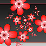 Fractal Cheerful Red Flowers Poster