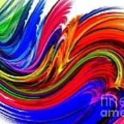 Fractal Colors On White Poster