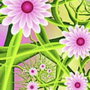 Fractal Fantasy Neon Flower Garden Poster