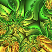Fractal Gold And Green Together Poster