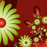 Fractal Happy Flowers 2 Poster