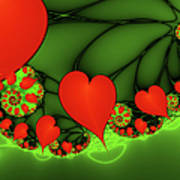 Fractal Hearts In The Discothec Poster