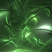 Fractal Living Green Metal Poster