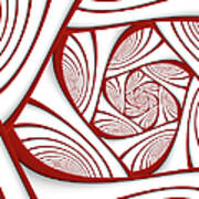 Fractal Red And White Poster
